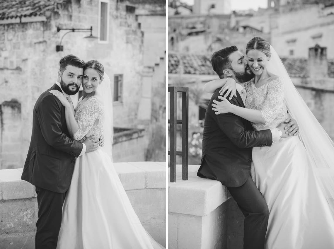 couple groom bride wedding day matera sassi