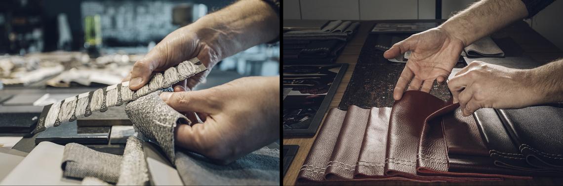 ricerca sviluppo natuzzi leather texture pelle hands